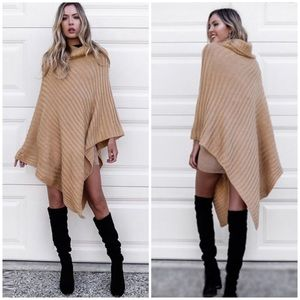 Khaki Ribbed Knit Batwing Poncho Sweater